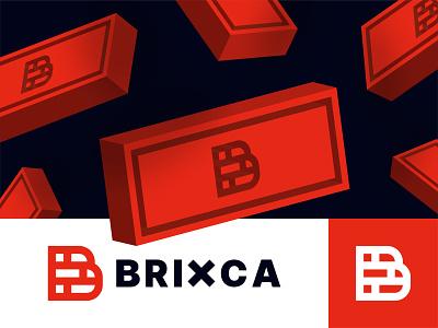 Brixca architecture factory visual identity letter b bold construction black brand identity simple logo design wall block modern company building 3d geometric brick red branding