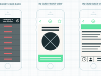 Work in progress wireframes for a card based app