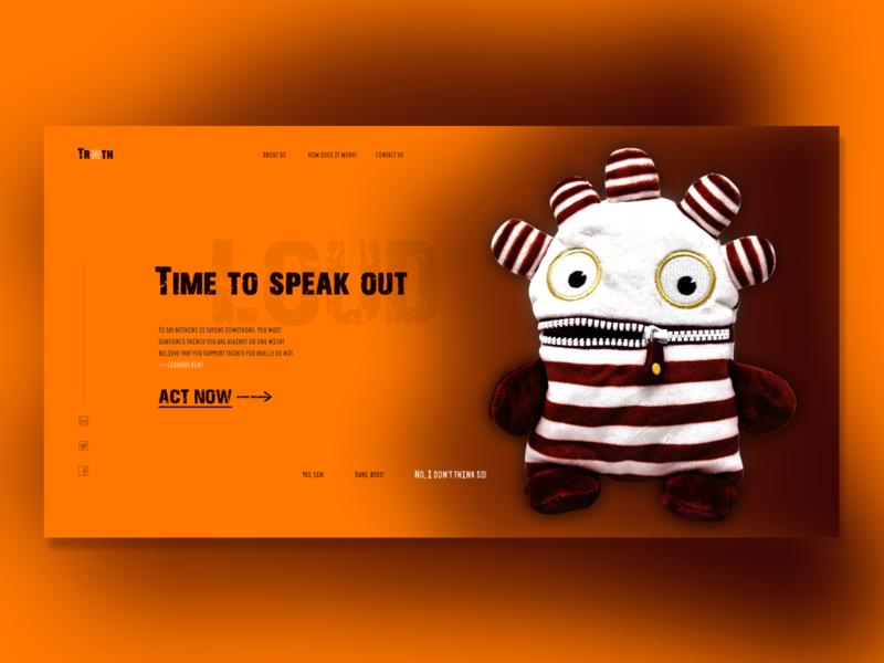 Time to speak out first screen concept orange underground toy design webdesign website