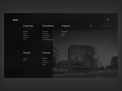 Open Menu - Auckland Based Architecture website dark architecture design search minimalism grain hover menu website architecture photoshop figma design blur ui interface