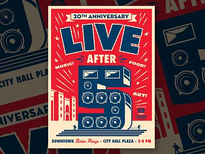 Live After 5 Poster louisiana baton rouge speakers design illustration poster