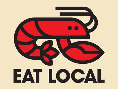 Eat Local louisiana thick lines icon logo illustration crawfish