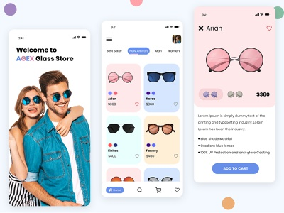 Sunglasses E-Commerce App app design clean minimal ui uidesign sunglasses