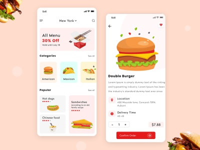 food ui food illustration app design ui design food app