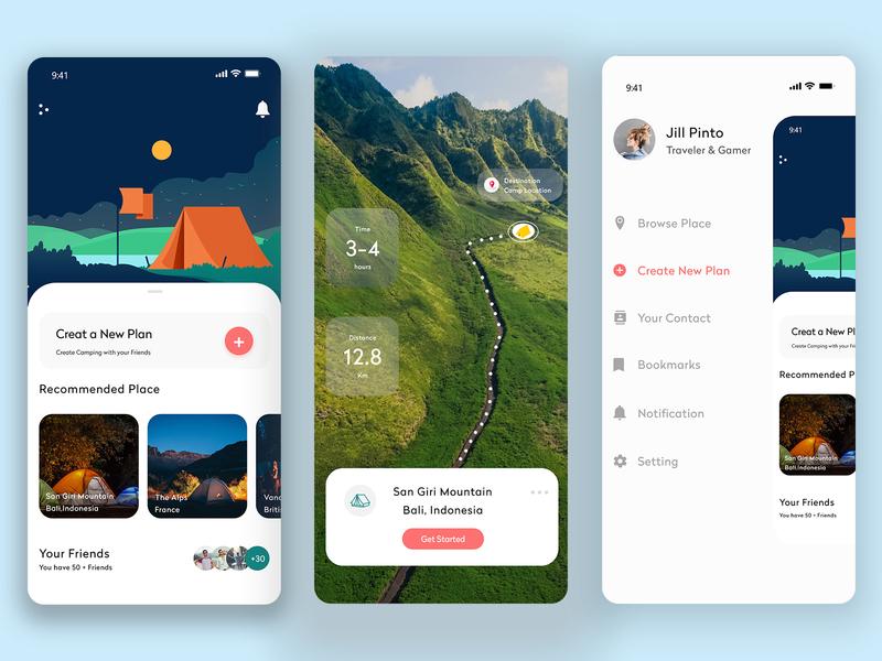trackking travelling ui minimalist ui design app design travelling ui
