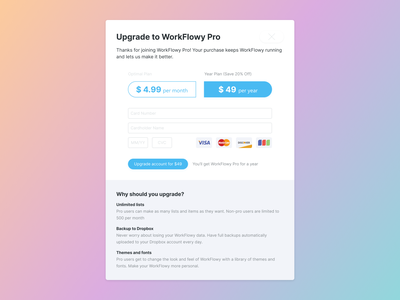 Workflowy Upgrade Popup Redesign figma clean upgrade payment popup minimal redesign interaction interface ux ui workflowy
