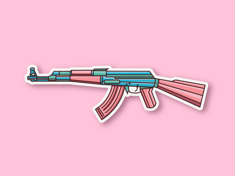 AK47 sticker ak47 gunner gun hellodribbble sticker design pink sticker art flat illustration aesthetic vector sticker icon design dribbble