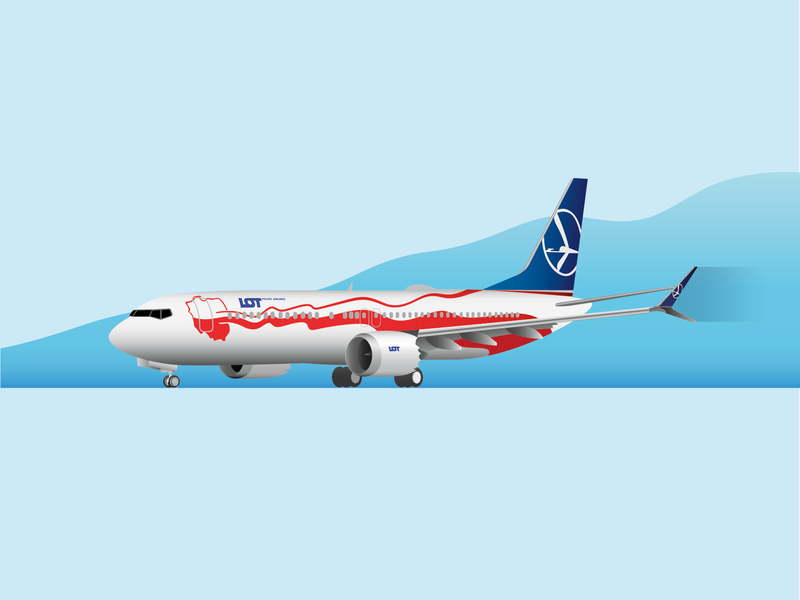 Boeing 737 MAX 8 lot boeing wings blue red poland airplanes airplane aesthetic illustration ilustration flat vector icon dribbble design