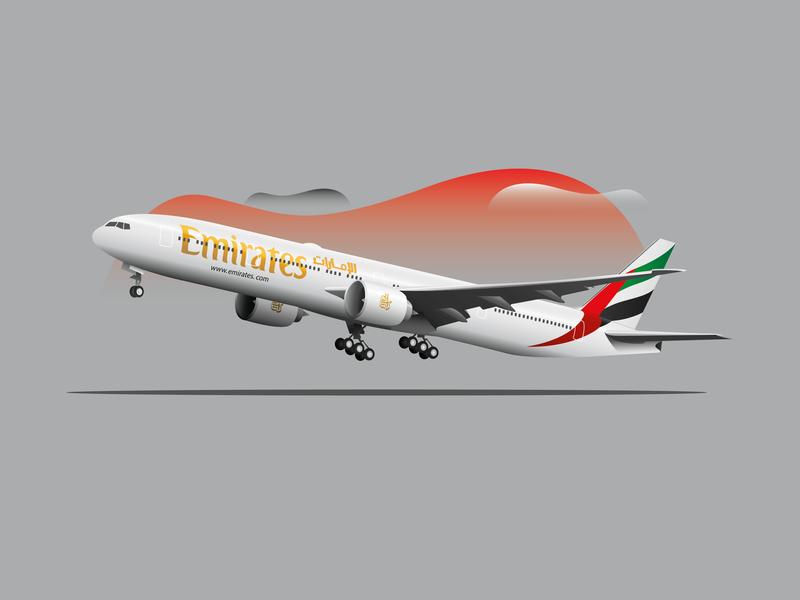 B777-300 Emirates grey b777 boeing emirates print tshirt airplanes airplane aesthetic illustration ilustration flat vector dribbble design