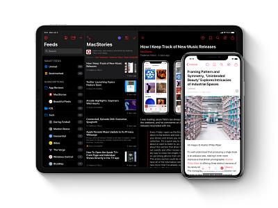 Elytra Multi-Column Layout dark mode dark iphone app ipad app native reader feed rss layout iphone ipad ipados
