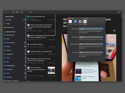 Elytra - Mac Catalyst Version ipad ui app iphone ios responsive catalina icons preferences catalyst mac reader feed rss elytra