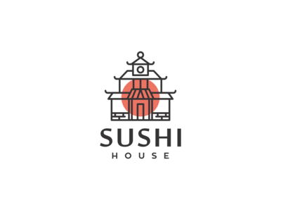 sushi house logo design