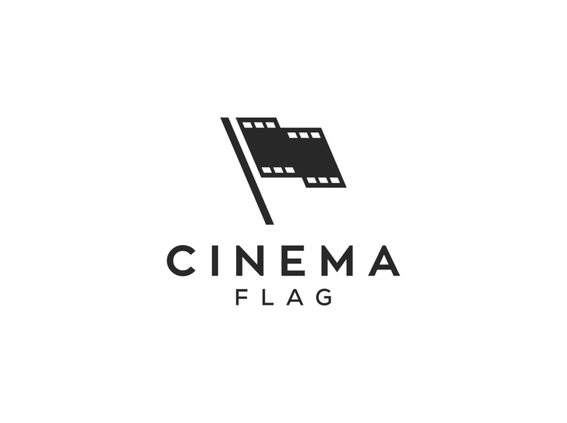 cinema flag concept logo design