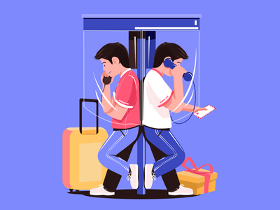 Say goodbye to your past self animation icon ux vector logo illustration