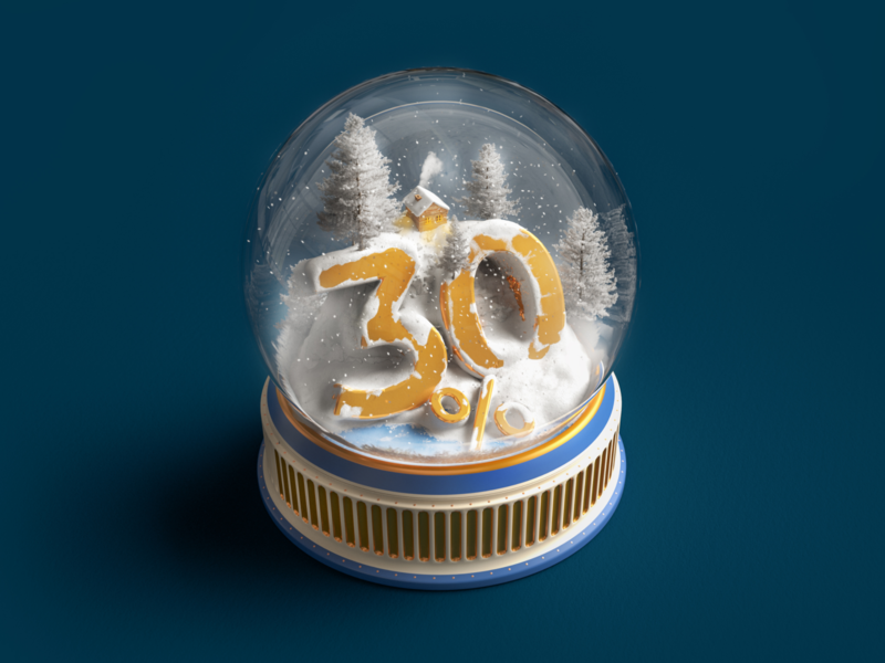 Get 30% off on Yearly Premium and save $54 snow winter 30 glass photon render christmas vectary text 3d