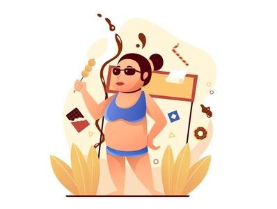 Non Calories Burner beach 2d character 2d art illustration design illustration art illustrations designer lllustration flat illustration flatdesign diet