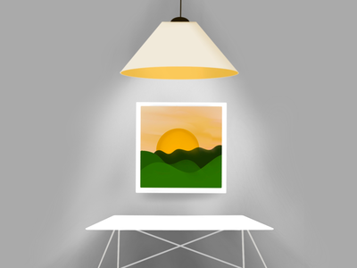 Lamp, picture and work desk lamp procreate ipad pro grey desk sun illustration