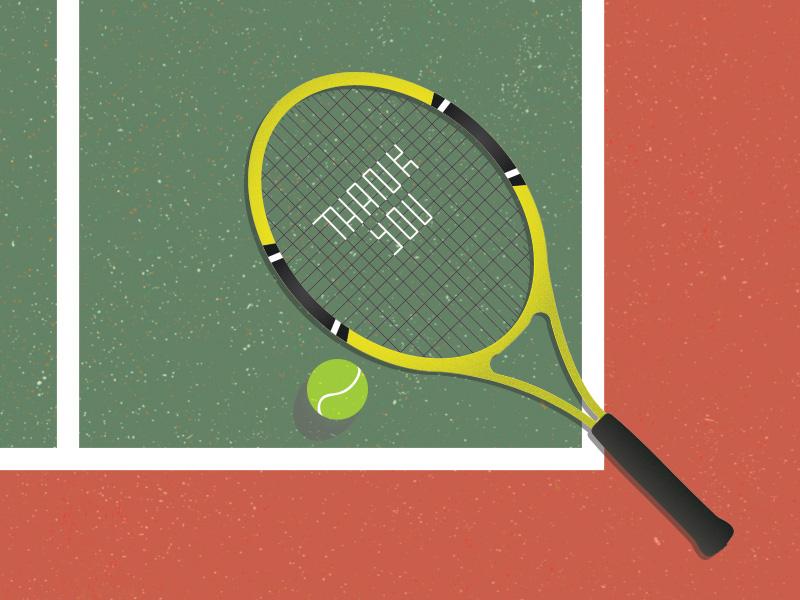 Thank You Dree petoskey texture vector court ball racket tennis
