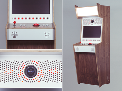 Hubble Booth photo booth mid century plywood walnut arcade