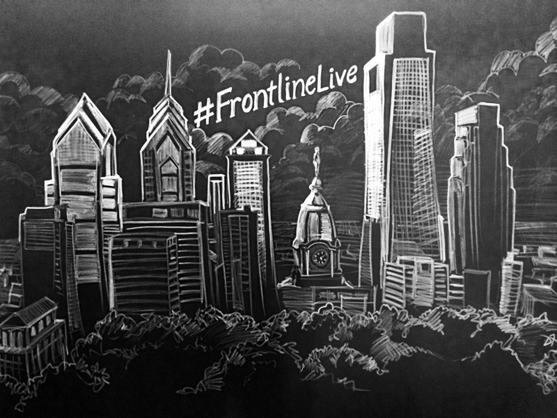8 X10 Chalk On Fabric Philly Skyline Mural By Dyke
