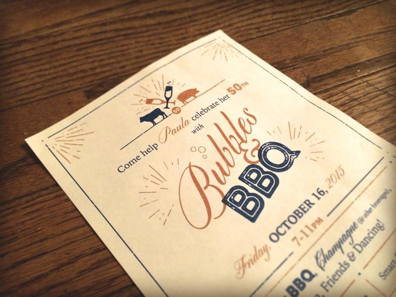 Bubbles BBQ Birthday Party Invitation Invite Barbecue Bbq Champagne Blue Gold
