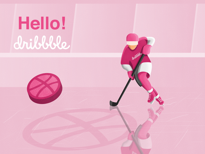 Hello Dribbble! hockey dribbble invite debut first shot hello dribbble vector illustraion illustrator
