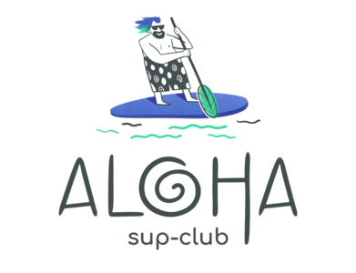 Logotype for SUP-club ALOHA art drawing logodesign logotype illustration