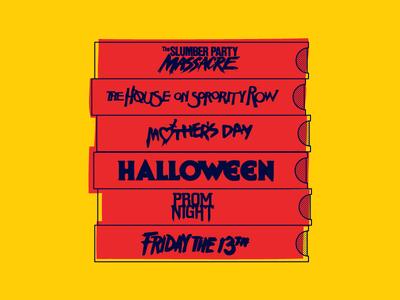 Stack of Slasher VHS horror art horror slasher vhs vector illustration