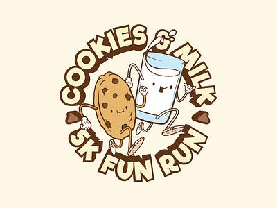Cookies & Milk 5K Badge badge design badge logo badge symbol emblem branding typography logo graphic design