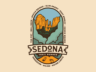 Sedona Trail Runner Badge typography illustrator illustration emblem vector badge design badges badge logo design icon logo graphic design