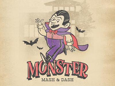 2020 Monster Mash & Dash Mascot halftones retro graphic design typography illustration illustrator