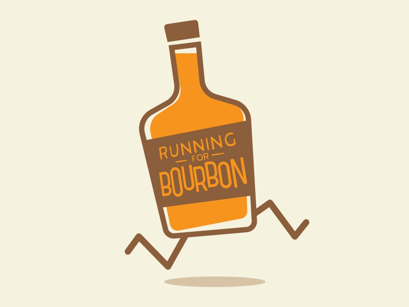Running for Bourbon funny silly t-shirt design design t-shirt graphic design
