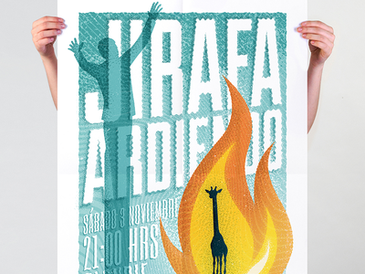 Jirafa Ardiendo Gig poster burning giraffe jirafa ardiendo gig poster concert poster illustration gig cartel poster