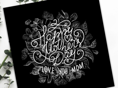 Happy Mothers Day. Love you mom.  Greeting card.