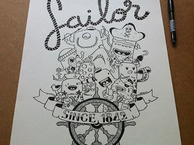 Sailor monsters doodles posca samnuts