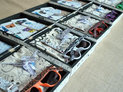 Monster Box monster box bag glasses fingerskate stickers origami doodles samnuts posca