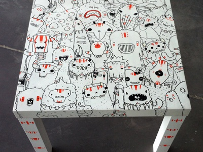 Table Custom table custom posca doodles monster samnuts