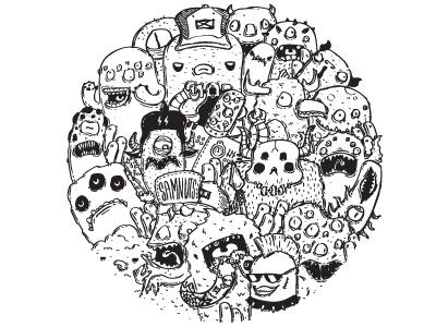 Circle circle doodles monsters samnuts