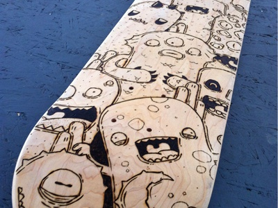 Skateboard Pyrographed skateboard custom pyrographed doodles monster samnuts