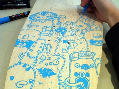 Custom Board skateboard custom posca doodles monster samnuts