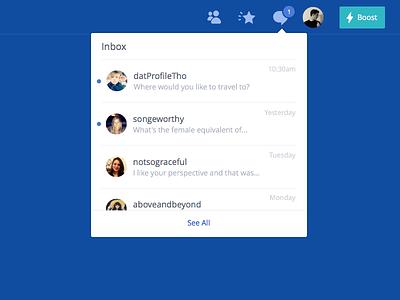 Messages Dropdown navigation notifications users list popover dropdown message messages