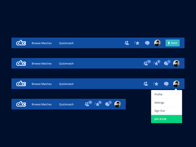 OkCupid Navigation Redesign search user menu messages badges notifications menu icons icon template navigation nav