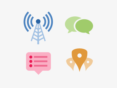 Locals Icons broadcast chat location notifications radio tower notification