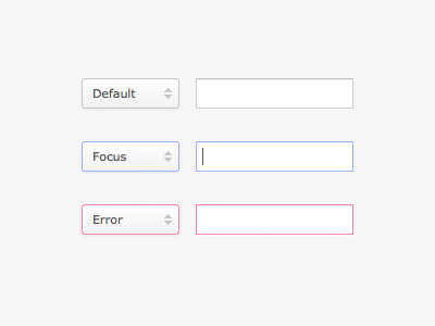 Form Element States input select error focus form elements