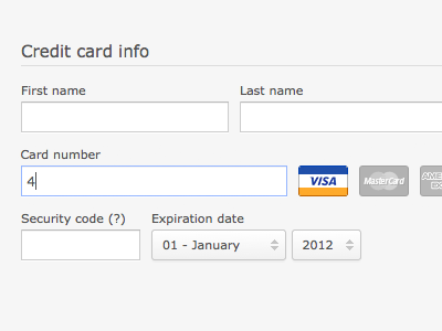 Credit card info credit payment form credit card select input