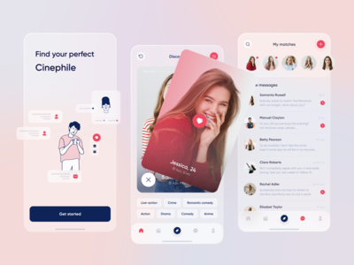 Dating Mobile App playful mobile movie figma interface blur ios app design application messages matches films cinema chat dating minimal design web app ux ui
