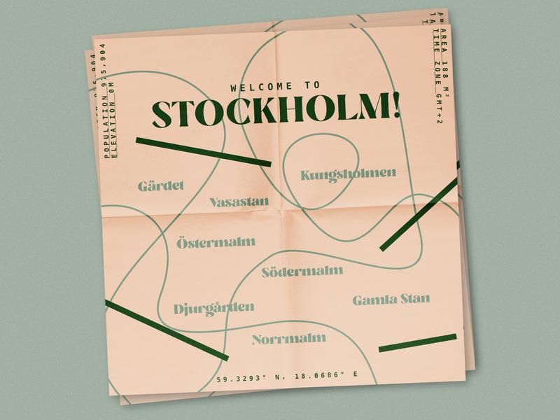 Stockholm Leaflet typography poster minimal vector logo illustrator illustration flat design art