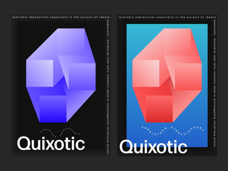 Quixotic Poster type typography vector illustrator illustration flat poster minimal design art