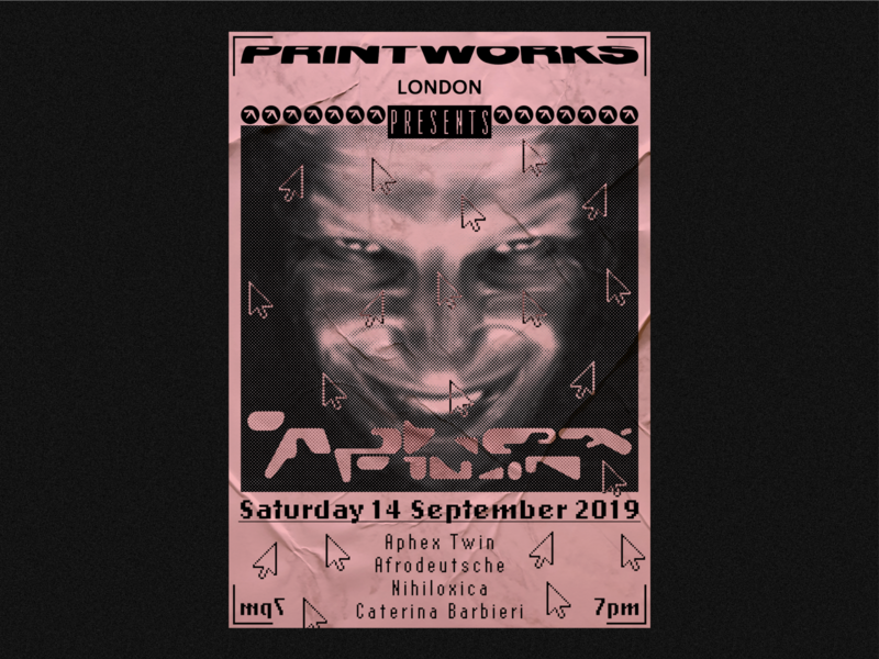 Aphex Twin Poster typography event flyer halftone illustrator design poster art aphex twin poster a day poster
