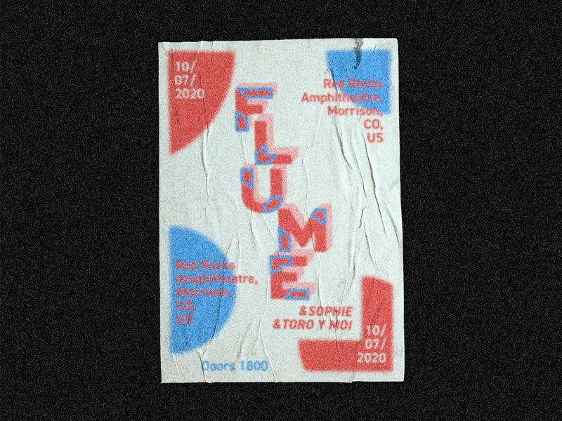 Flume Poster vector print design flat flume poster typography blur minimal event flyer illustrator design